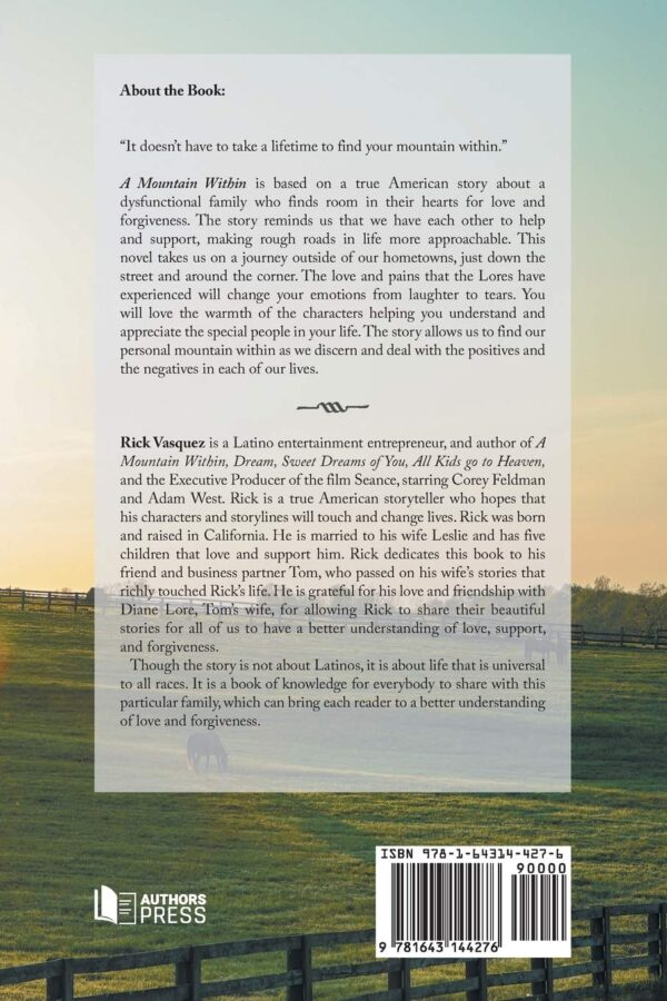 A Mountain Within by Rick Vasquez (back Cover)